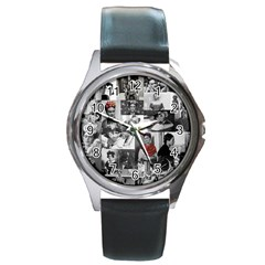 Frida Kahlo Pattern Round Metal Watch