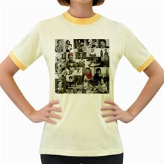 Frida Kahlo Pattern Women s Fitted Ringer T Shirts