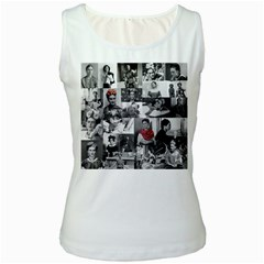 Frida Kahlo Pattern Women s White Tank Top