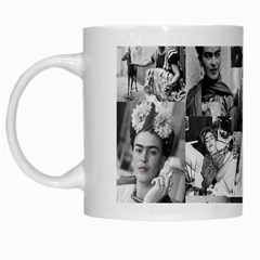 Frida Kahlo Pattern White Mugs by Valentinaart