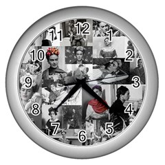 Frida Kahlo Pattern Wall Clocks (silver)