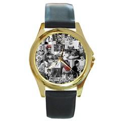 Frida Kahlo Pattern Round Gold Metal Watch