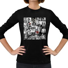 Frida Kahlo Pattern Women s Long Sleeve Dark T Shirts
