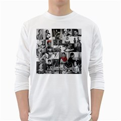 Frida Kahlo Pattern White Long Sleeve T Shirts