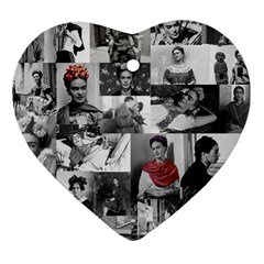 Frida Kahlo Pattern Heart Ornament (two Sides)