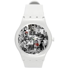 Frida Kahlo Pattern Round Plastic Sport Watch (m)