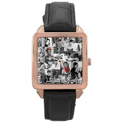 Frida Kahlo Pattern Rose Gold Leather Watch