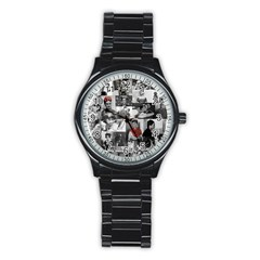 Frida Kahlo Pattern Stainless Steel Round Watch