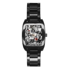 Frida Kahlo Pattern Stainless Steel Barrel Watch