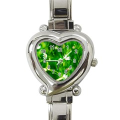 Inside The Grass Heart Italian Charm Watch by FunnyCow