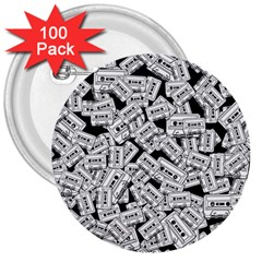 Audio Tape Pattern 3  Buttons (100 Pack)
