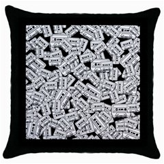 Audio Tape Pattern Throw Pillow Case (black)