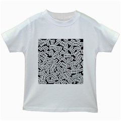 Audio Tape Pattern Kids White T Shirts