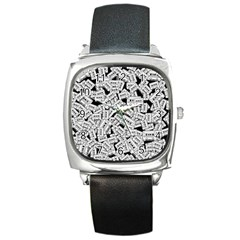 Audio Tape Pattern Square Metal Watch