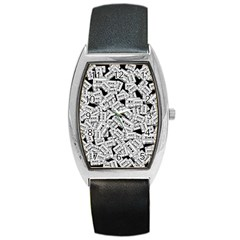 Audio Tape Pattern Barrel Style Metal Watch