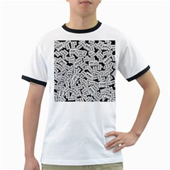 Audio Tape Pattern Ringer T Shirts
