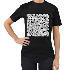Audio Tape Pattern Women s T Shirt (black) (two Sided)