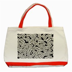 Audio Tape Pattern Classic Tote Bag (red)