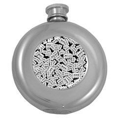 Audio Tape Pattern Round Hip Flask (5 Oz)