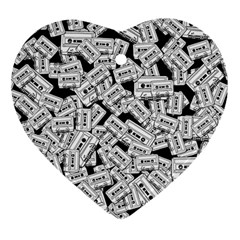 Audio Tape Pattern Heart Ornament (two Sides)
