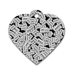 Audio Tape Pattern Dog Tag Heart (two Sides)