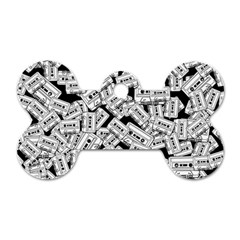 Audio Tape Pattern Dog Tag Bone (two Sides)