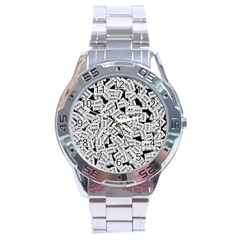 Audio Tape Pattern Stainless Steel Analogue Watch