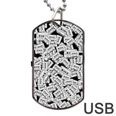 Audio Tape Pattern Dog Tag Usb Flash (one Side)