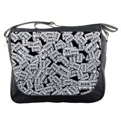 Audio Tape Pattern Messenger Bags