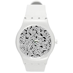 Audio Tape Pattern Round Plastic Sport Watch (m)