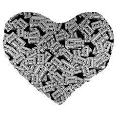 Audio Tape Pattern Large 19  Premium Heart Shape Cushions