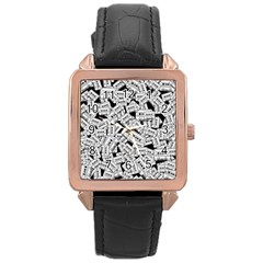 Audio Tape Pattern Rose Gold Leather Watch