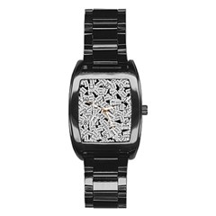 Audio Tape Pattern Stainless Steel Barrel Watch