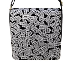 Audio Tape Pattern Flap Messenger Bag (l)