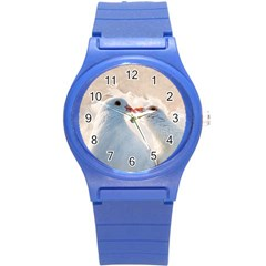 Doves In Love Round Plastic Sport Watch (s) by FunnyCow