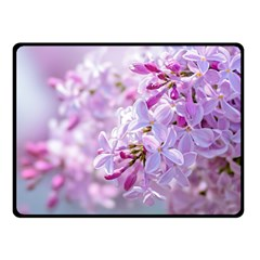 Pink Lilac Flowers Double Sided Fleece Blanket (small)  by FunnyCow