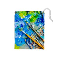 Artist Palette And Brushes Drawstring Pouches (medium)  by FunnyCow