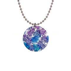 Blue Tropical Leaves Pattern Button Necklaces