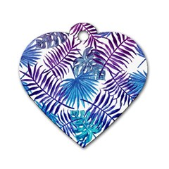 Blue Tropical Leaves Pattern Dog Tag Heart (one Side) by goljakoff