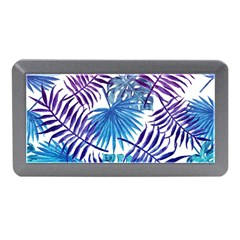 Blue Tropical Leaves Pattern Memory Card Reader (mini) by goljakoff