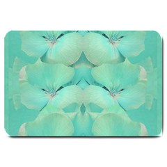 Green Fantasy Flower In Beautiful Festive Style Large Doormat  by pepitasart