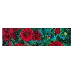 Red Mum Flowers Satin Scarf (oblong) by bloomingvinedesign