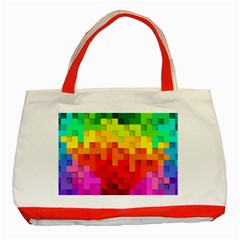 Abstract Background Square Colorful Classic Tote Bag (red)