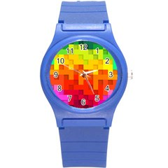 Abstract Background Square Colorful Round Plastic Sport Watch (s)