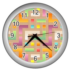 Abstract Background Colorful Wall Clocks (silver)