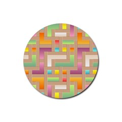 Abstract Background Colorful Rubber Round Coaster (4 Pack)