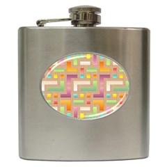 Abstract Background Colorful Hip Flask (6 Oz)
