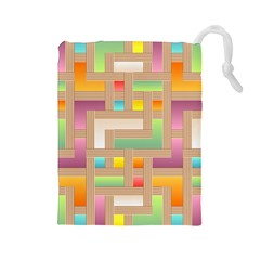 Abstract Background Colorful Drawstring Pouches (large)  by Nexatart