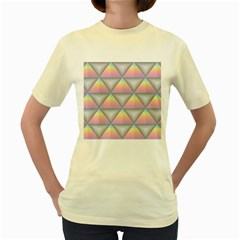 Background Colorful Triangle Women s Yellow T Shirt