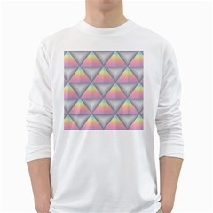 Background Colorful Triangle White Long Sleeve T Shirts